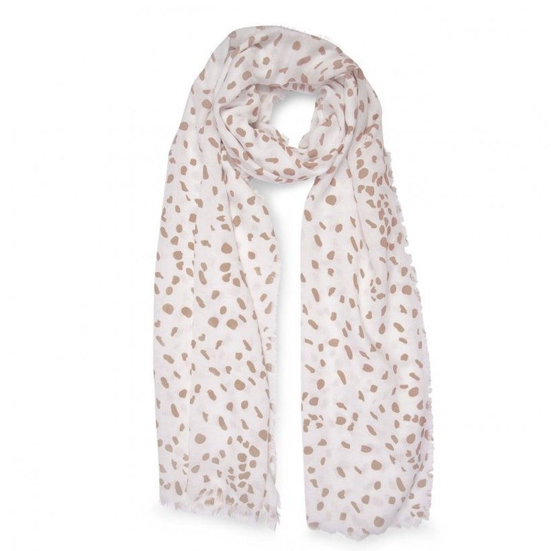 Printed Scarf - Leopard Print - White and Taupe
