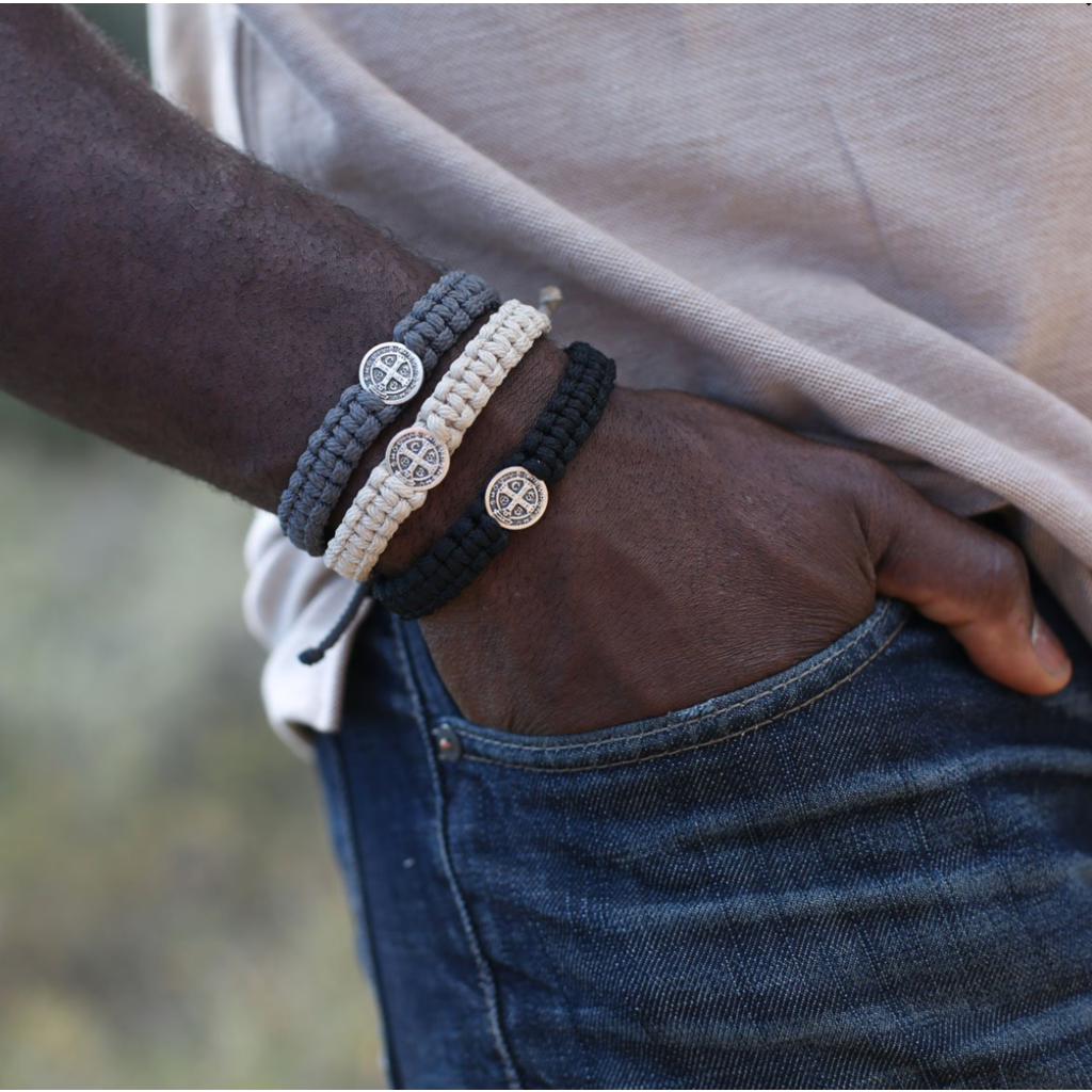 My Saint My Hero My Saint My Hero - One Blessing Bracelet for Him - Black/Silver