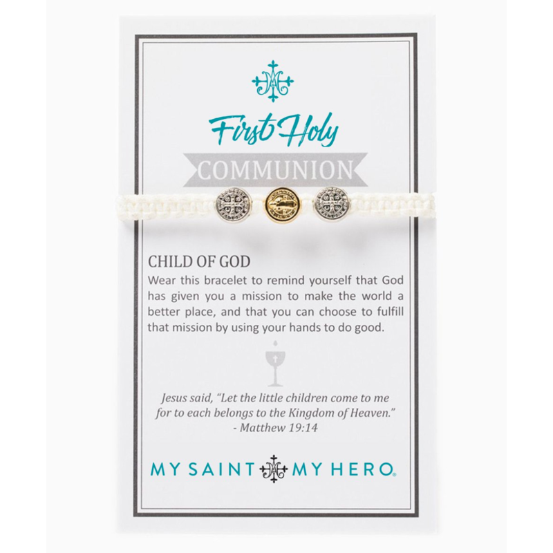 My Saint My Hero First Holy Communion - Silver/Gold Medal - White
