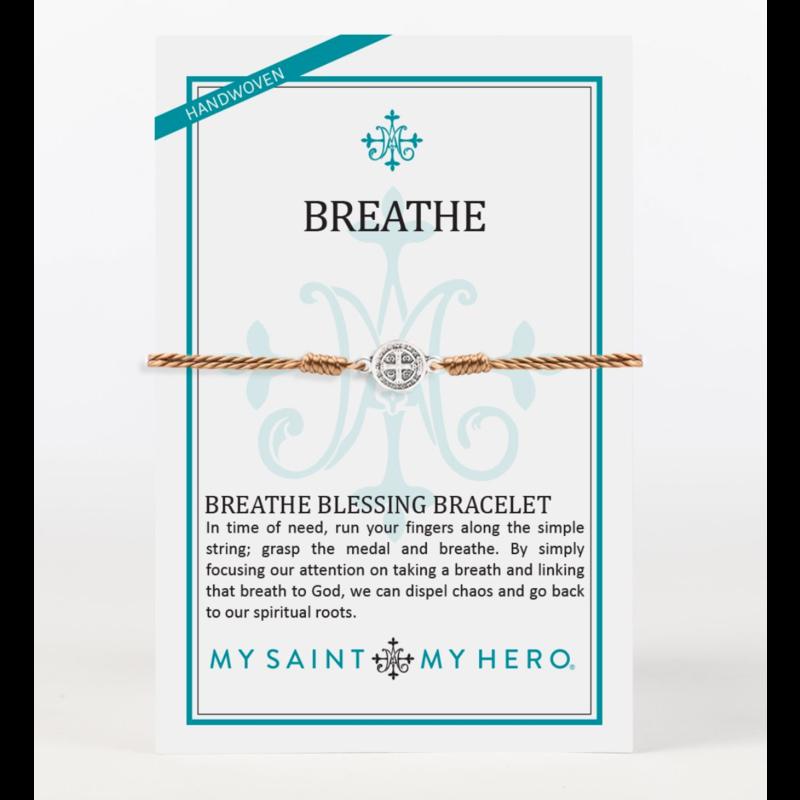 My Saint My Hero Breathe Bracelet - Taupe/Silver