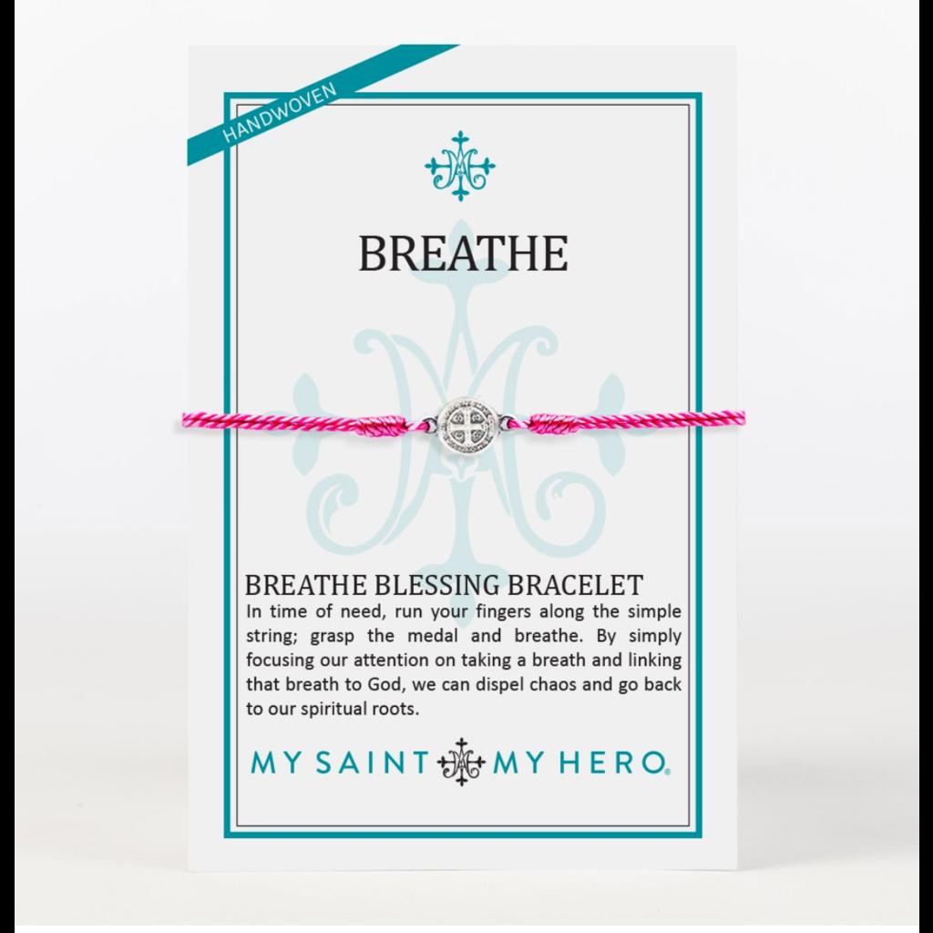 My Saint My Hero My Saint My Hero - Breathe Blessings Bracelet-Fuchsia/Silver