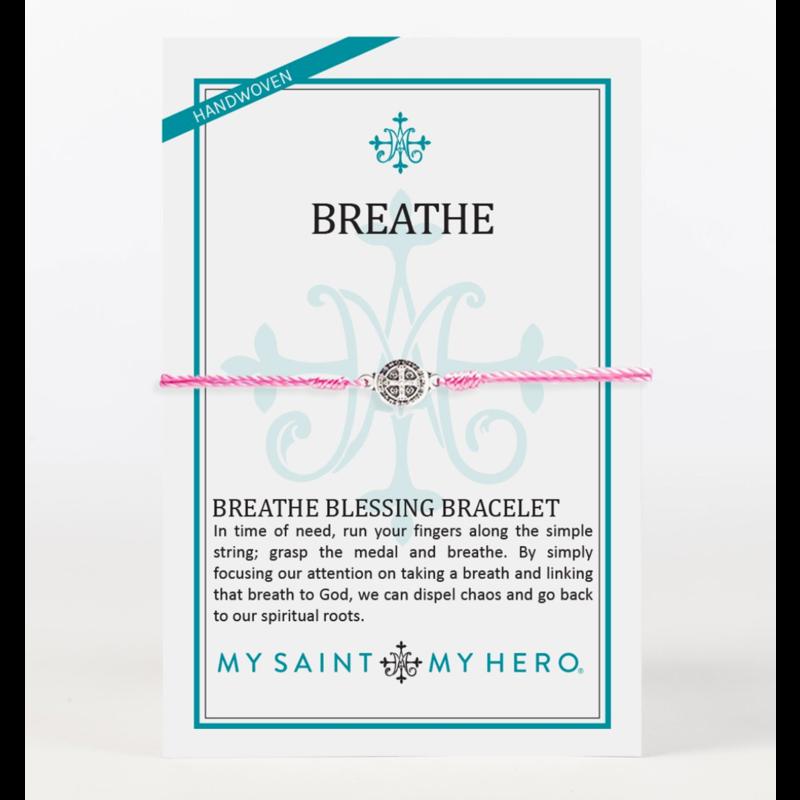 My Saint My Hero Breathe Blessing Bracelet - Pink/Silver