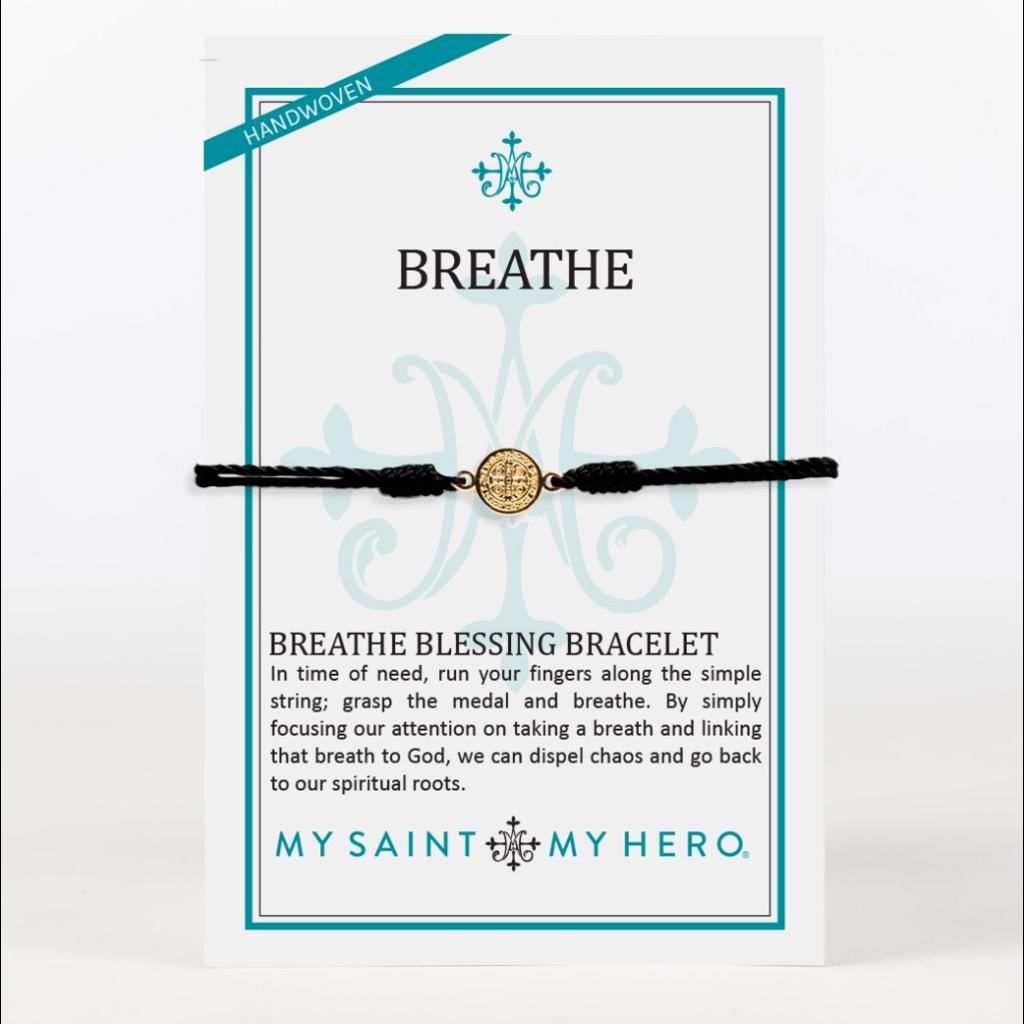 My Saint My Hero My Saint My Hero - Breathe Blessing Bracelet - Black/Gold