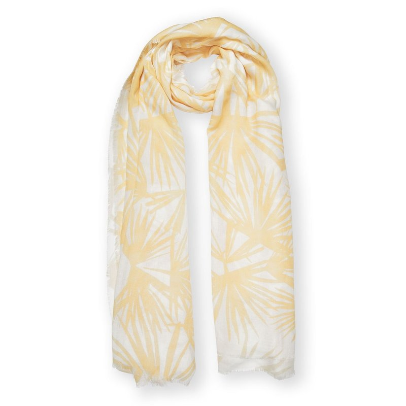 Printed Scarf - Tropical Leaf Print - White and Yellow