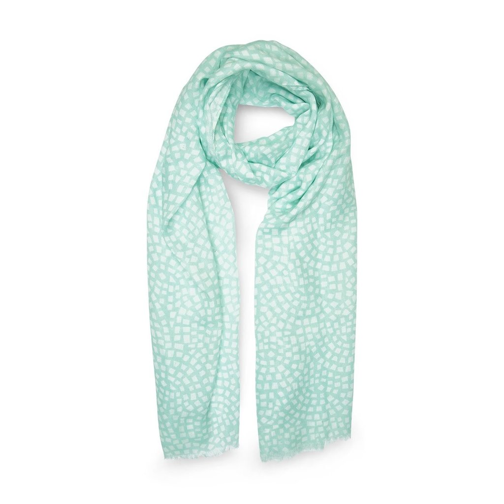 Katie Loxton Printed Scarf - Mosaic Print - Mint Green and White