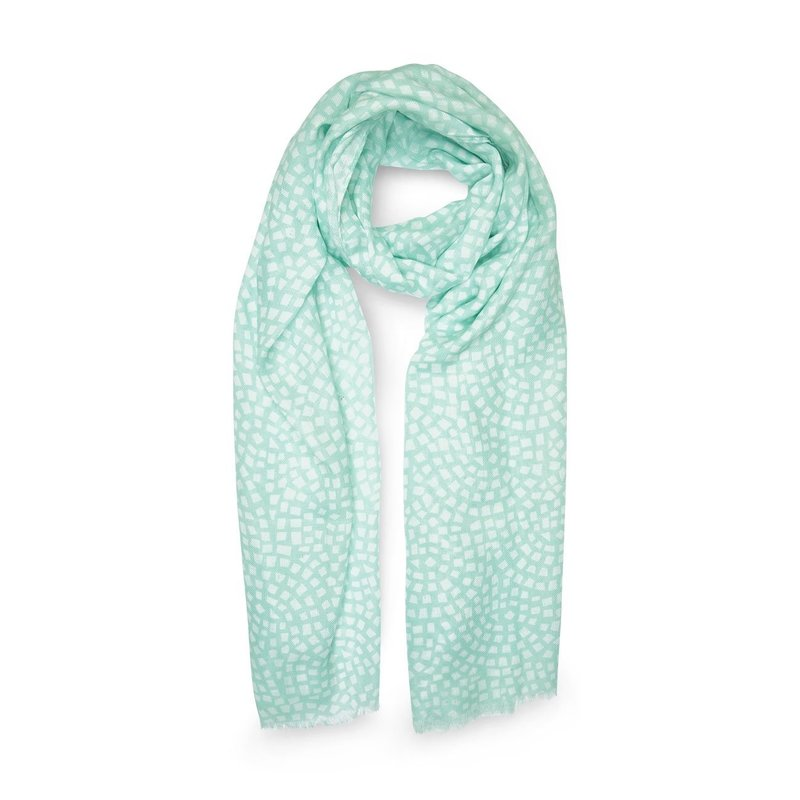 Printed Scarf - Mosaic Print - Mint Green and White