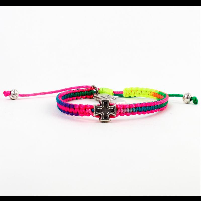 My Saint My Hero Wonderfully Made - Faith Blessing Bracelet for Kids - Silver/Rainbow
