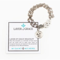 My Saint My Hero My Saint My Hero - Layer of Grace Bracelet - w/ Fleur de Lis - Silver