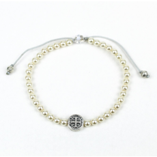 My Saint My Hero My Saint My Hero - Birthday Blessing Bracelet - Silver/White Pearls