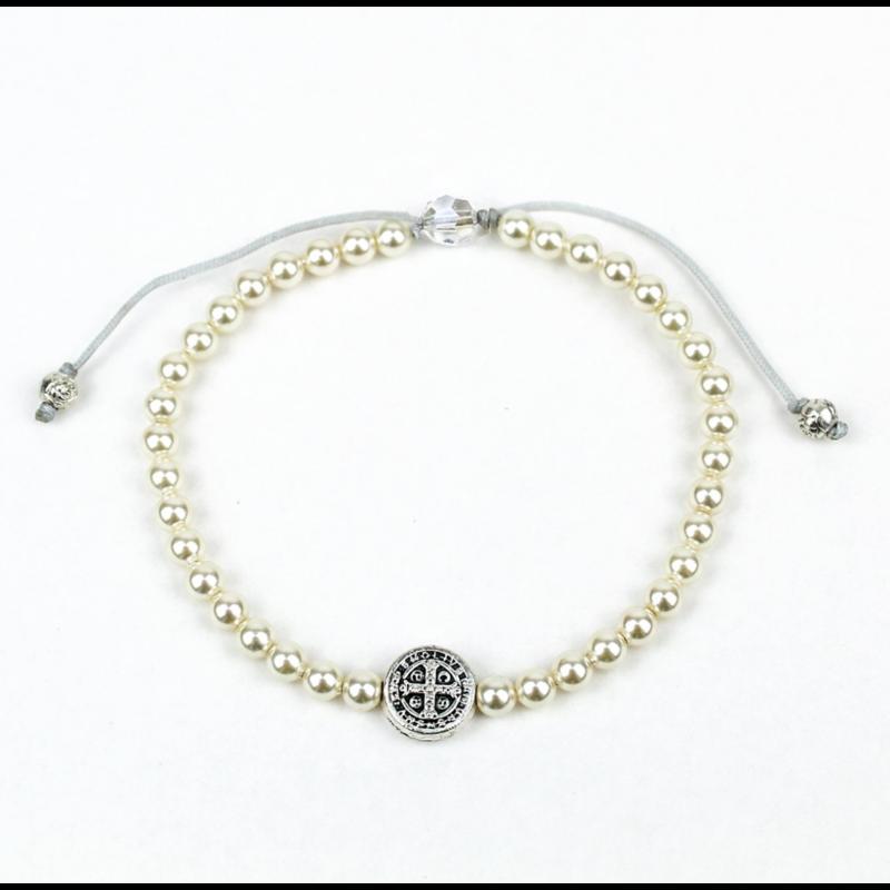 My Saint My Hero My Saint My Hero - Birthday Blessing Bracelet - Silver/White Pearls