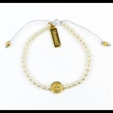 My Saint My Hero My Saint My Hero - Birthday Blessing Bracelet - Gold/White Pearls
