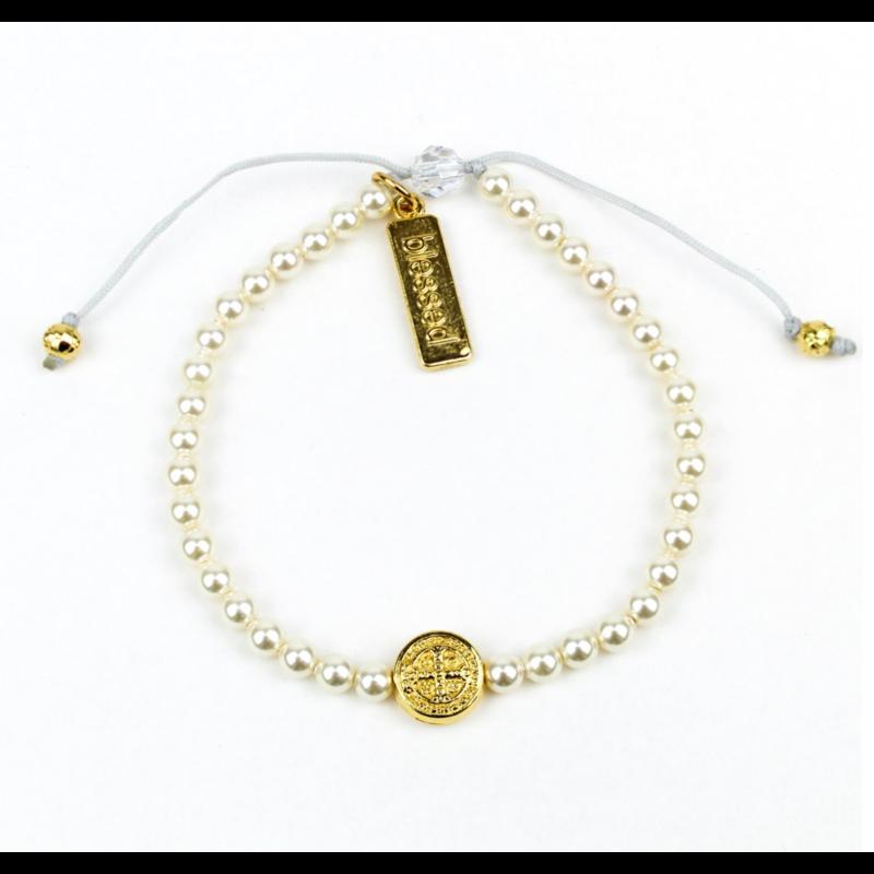 My Saint My Hero Birthday Blessing Bracelet - Gold/White Pearls