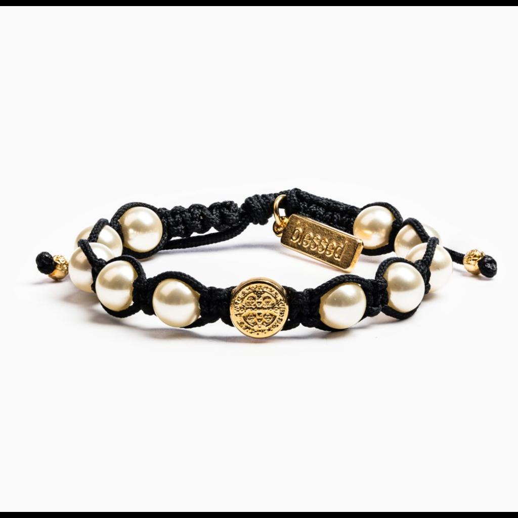 My Saint My Hero My Saint My Hero - Divine Blessing Bracelet - Black/White Pearls/Gold