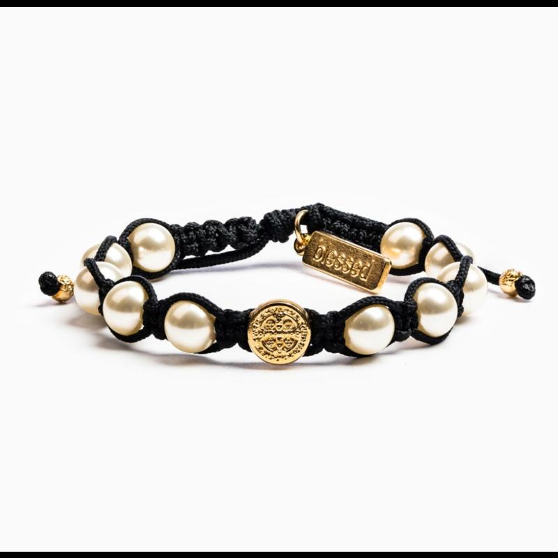 My Saint My Hero Divine Blessing Bracelet - Black/White Pearls/Gold