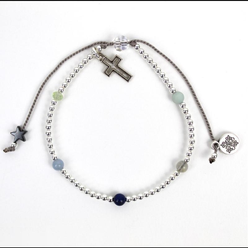 My Saint My Hero Family Virtues Bracelet With Open Cross - Gemstones/Silver