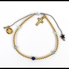 My Saint My Hero My Saint My Hero - Family Virtues Bracelet With Open Cross - Mix 5 Gemstones/Gold