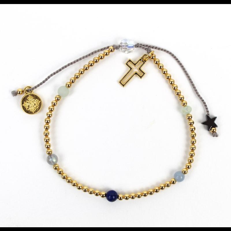 My Saint My Hero Family Virtues Bracelet With Open Cross -  Gemstones/Gold