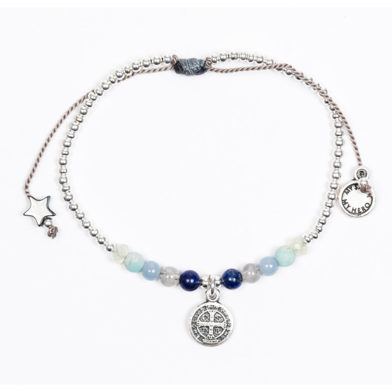 My Saint My Hero Family Virtues Bracelet with Benedict Medal - Mix 10 Gemstones/Silver
