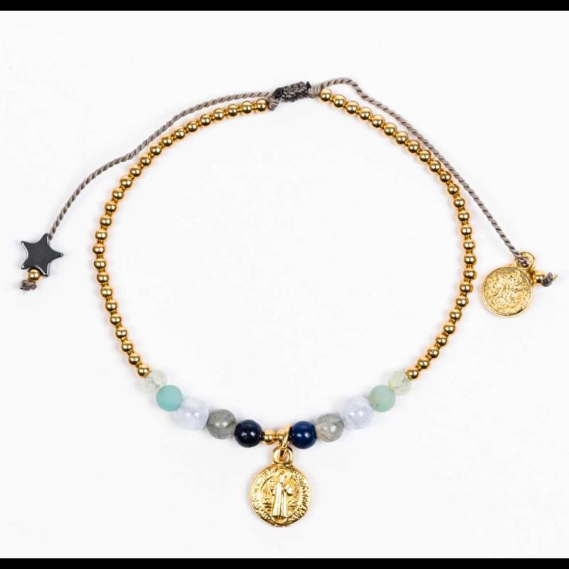 My Saint My Hero Family Virtues Bracelet with Benedict Medal - Mix 10 Gemstones/Gold