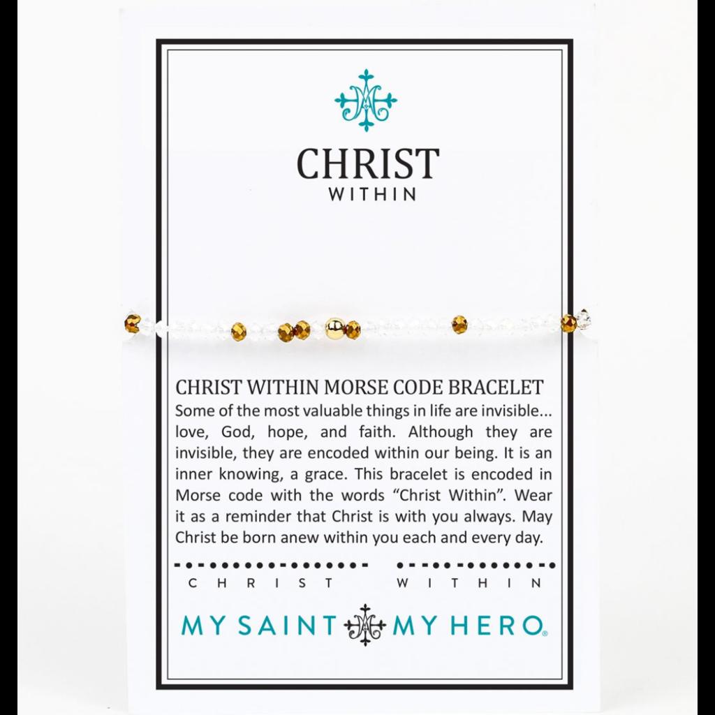 My Saint My Hero My Saint My Hero - Christ Within Morse Code Bracelet - Silver