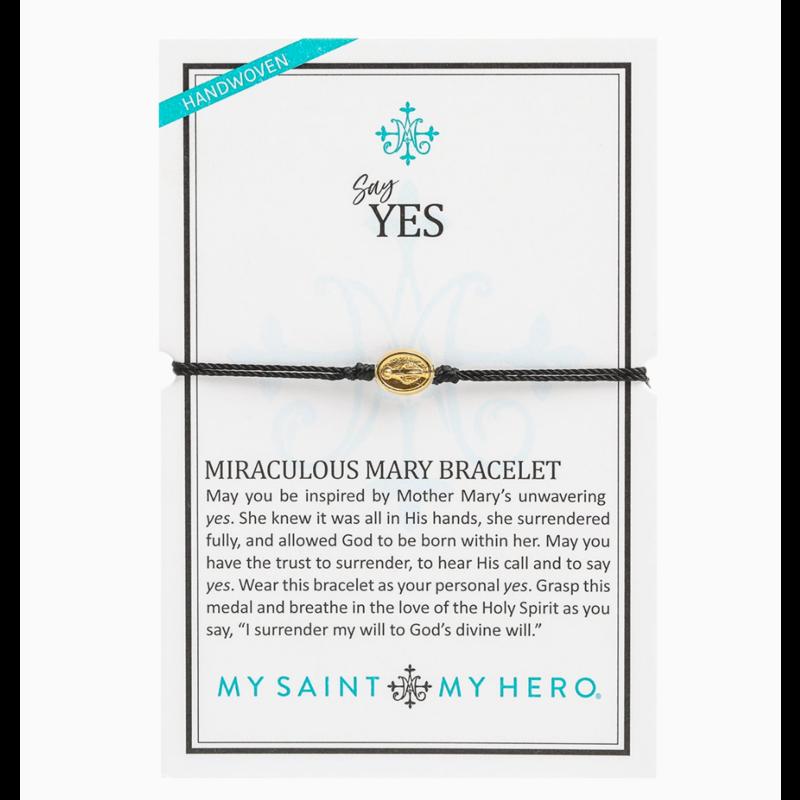 My Saint My Hero Say Yes - Miraculous Mary Bracelet - Black/Gold