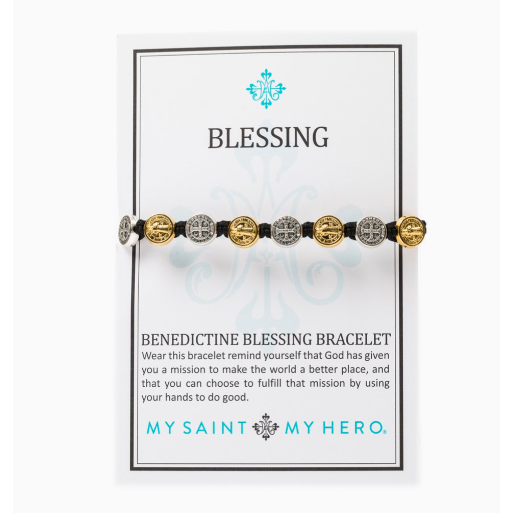My Saint My Hero My Saint My Hero - Benedictine Blessing Bracelet - Gold/Teal