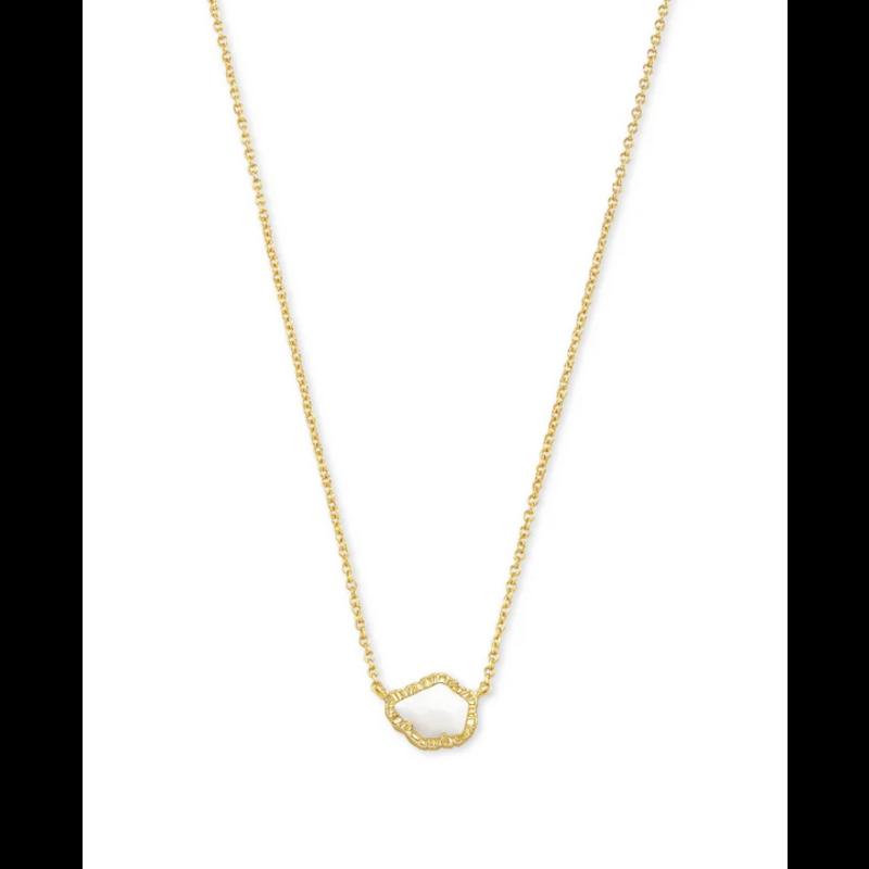 Kendra Scott Tessa Short Pendant Necklace - Gold/White Mussel