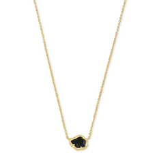 Kendra Scott Tessa Sm Short Pendant Necklace - Gold/Black Obsidian