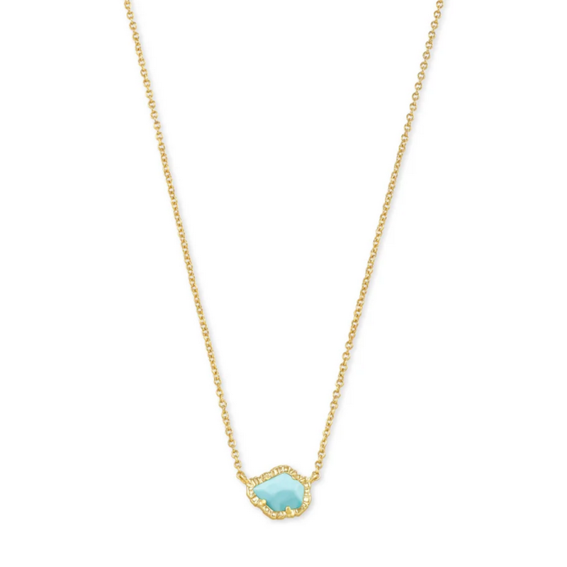 Kendra Scott Tessa Short Pendant Necklace - Gold/Lt Blue Magnesite