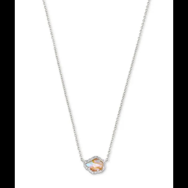 Kendra Scott Tessa Short Pendant Necklace - Silver/Iridescent Abalone