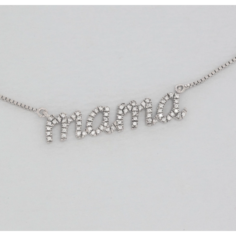 Ella Stein Love You Mama Necklace .017 Diamond Weight - Silver