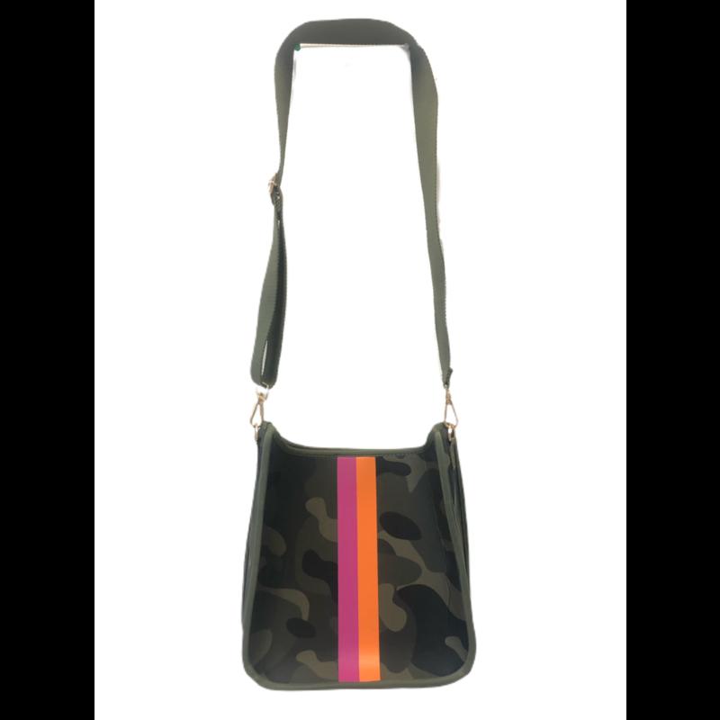 Ahdorned Camo Neoprene Messenger Bag w/ Pink/Orange Solid Web Strap