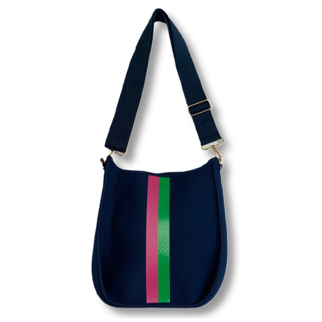 Ahdorned Ahdorned Navy Neoprene Messenger Bag  w/ Pink & Green Stripe