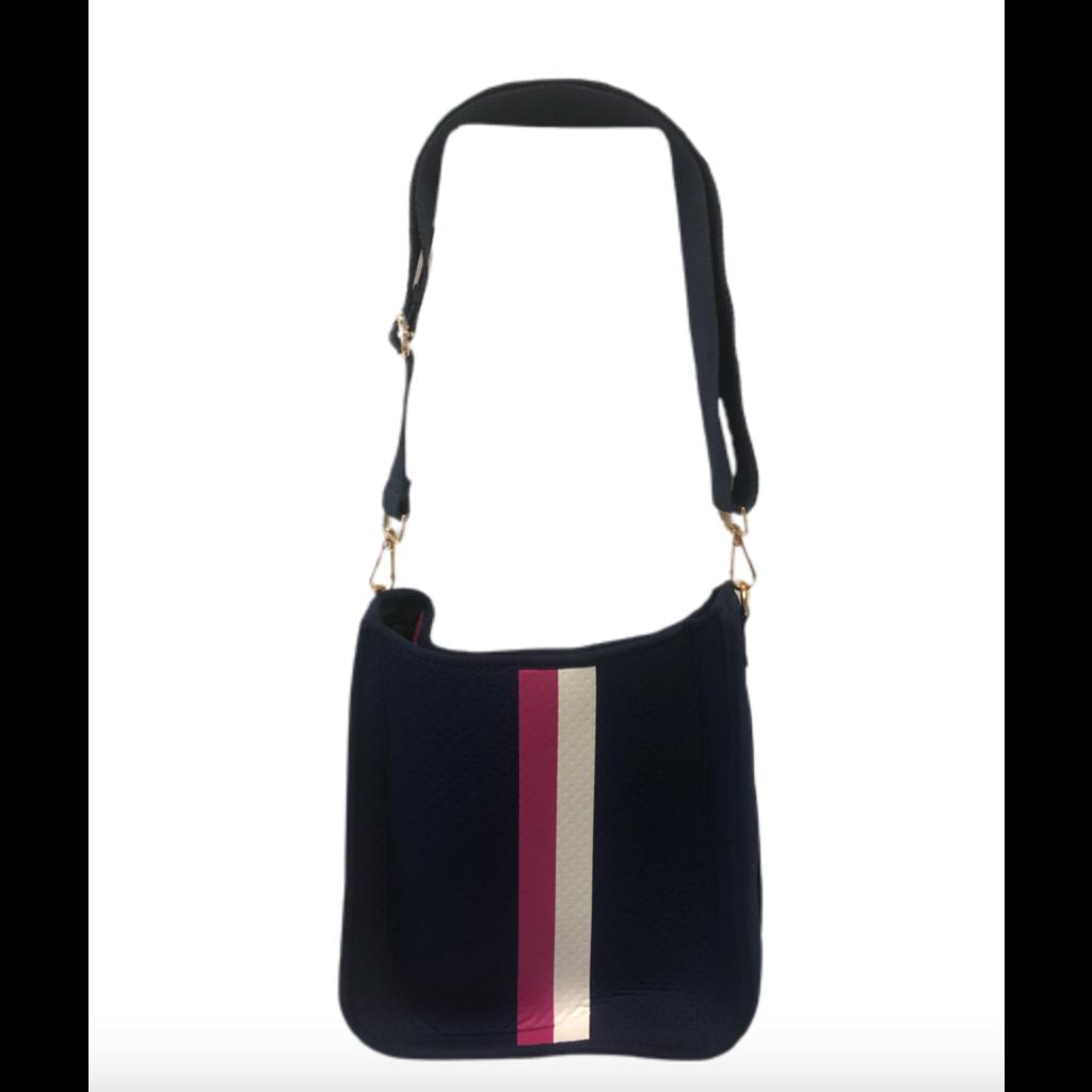 Ahdorned Ahdorned Navy Neoprene Messenger Bag w/ Pink & White Stripe