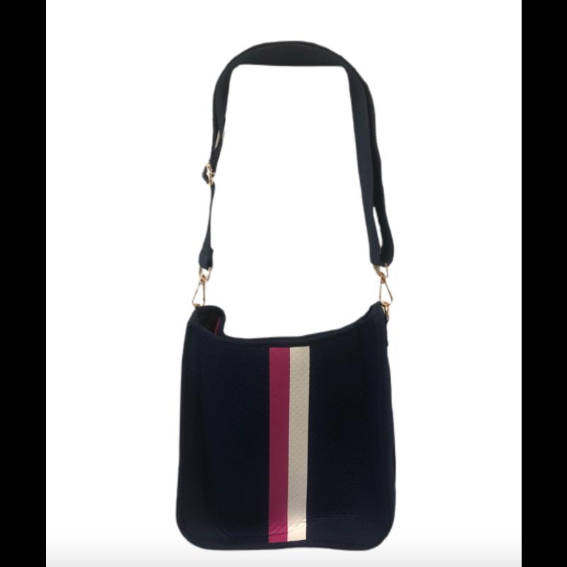 Ahdorned Navy Neoprene Messenger Bag w/ Pink & White Stripe