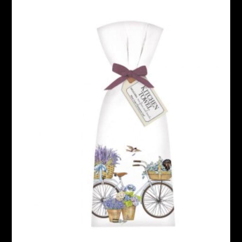 Mary Lake-Thompson White Bike Dachshund Towel Set
