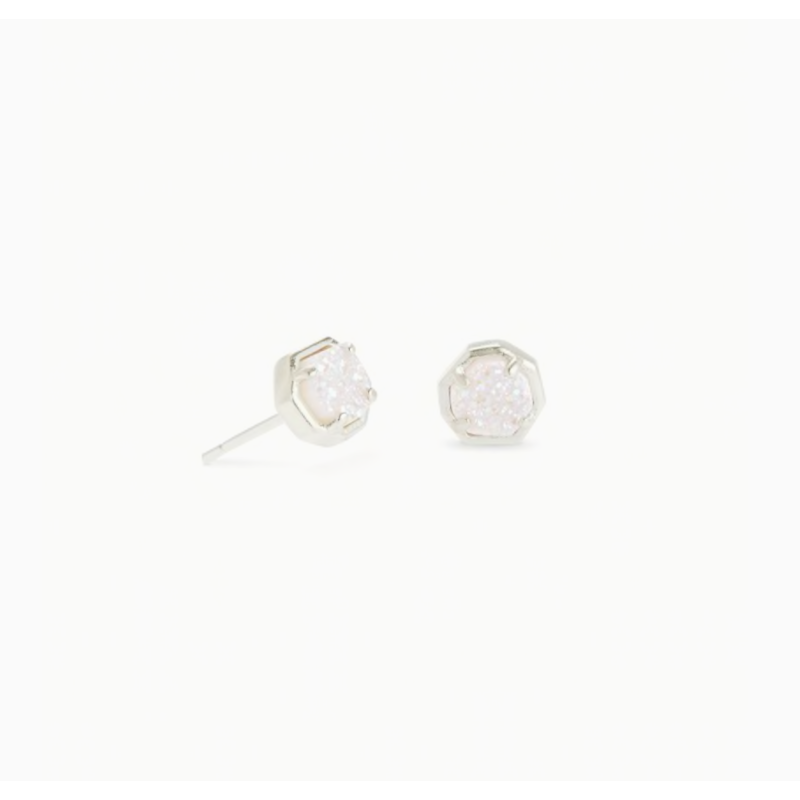 Kendra Scott Nola Silver Stud Earring in  Iridescent Drusy