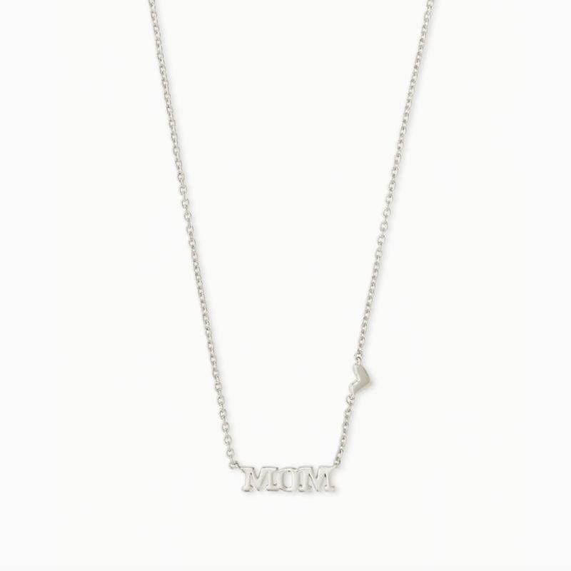 Kendra Scott Mom Pendant Necklace in Silver
