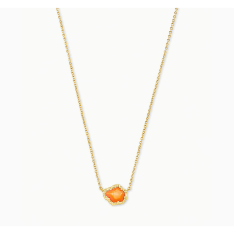 Kendra Scott Tessa Gold  Small Short Pendant Necklace in Papaya Mother of Pearl