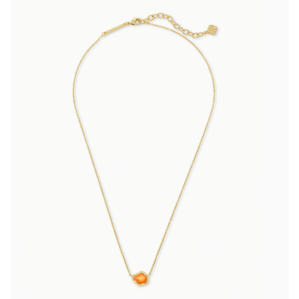 Kendra Scott Kendra Scott Tessa Gold  Small Short Pendant Necklace in Papaya Mother of Pearl