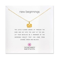 Dogeared Dogeared New Beginnings Lotus Necklace in Gold Dipped