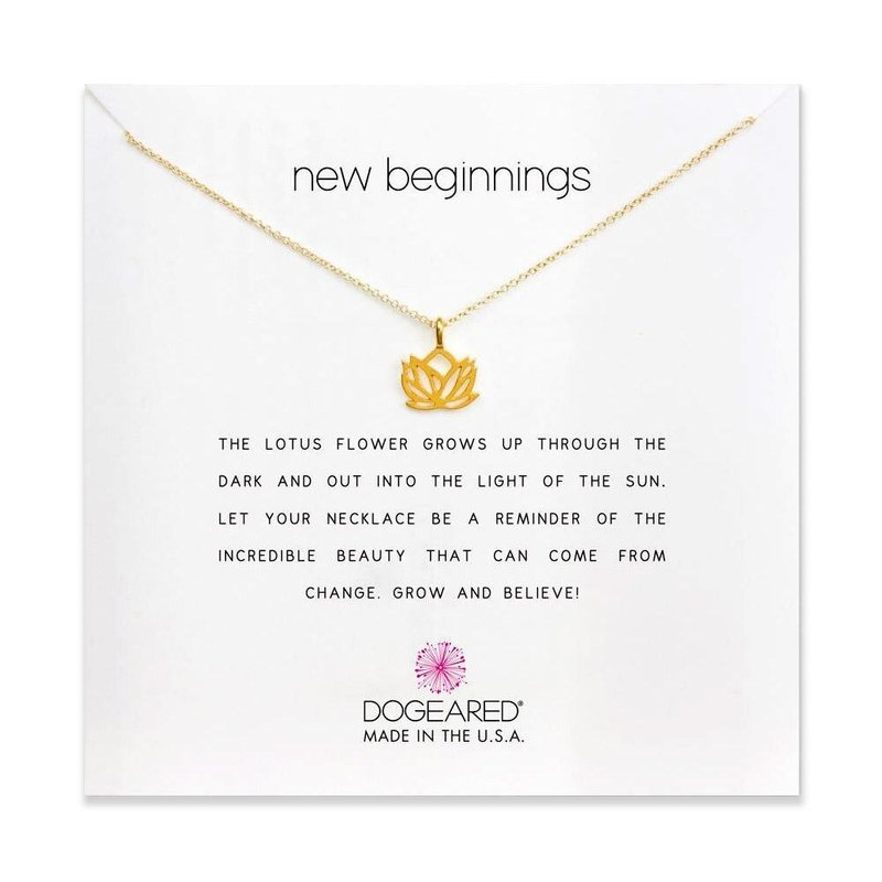 Dogeared New Beginnings Lotus Necklace in Gold Dipped
