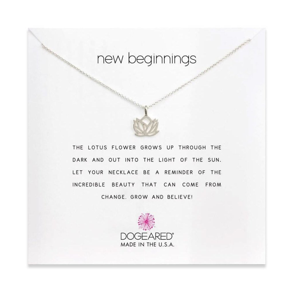 Dogeared Dogeared New Beginnings Lotus Necklace in Sterling Silver