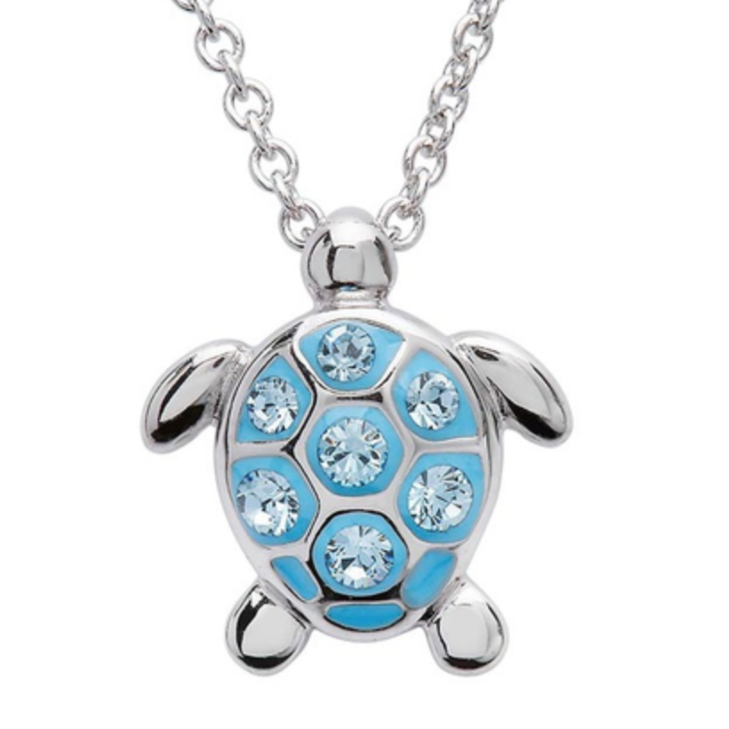 ShanOre ShanOre Sterling Silver Medium Aqua SW Crystal Turtle Necklace