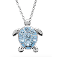 ShanOre ShanOre Sterling Silver Small Aqua SW Crystal Turtle Necklace