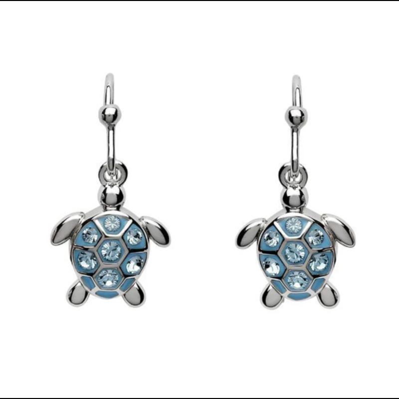 ShanOre ShanOre Sterling Silver Drop Turtle Aqua Crystal Earrings