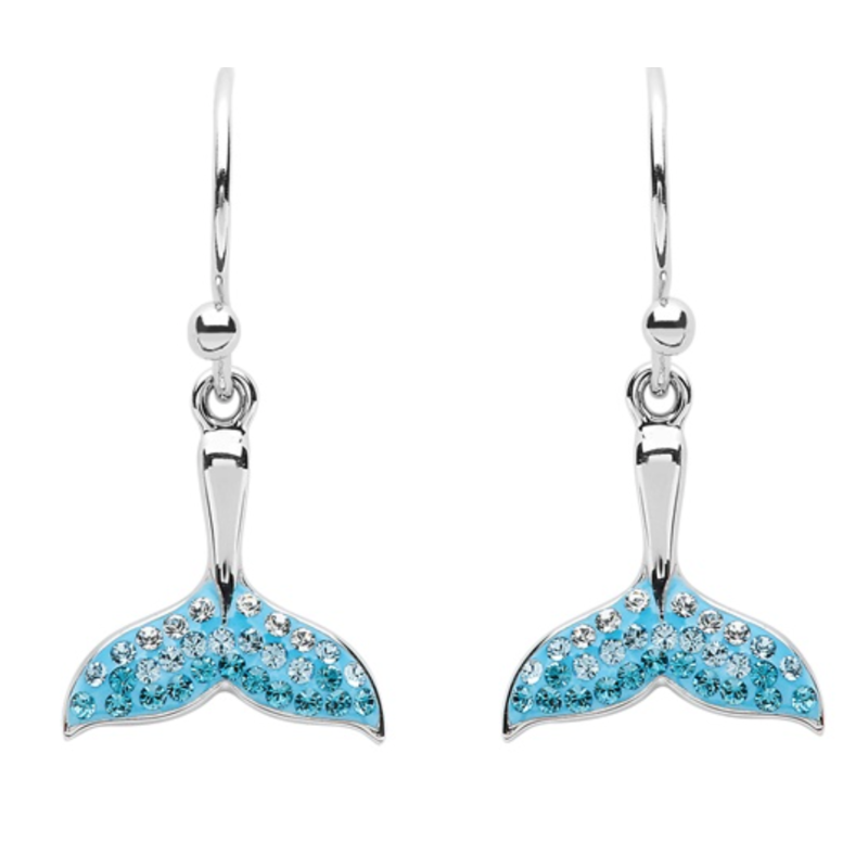 ShanOre ShanOre Sterling Silver Aqua SW Crystal Whale Tail Drop Earrings