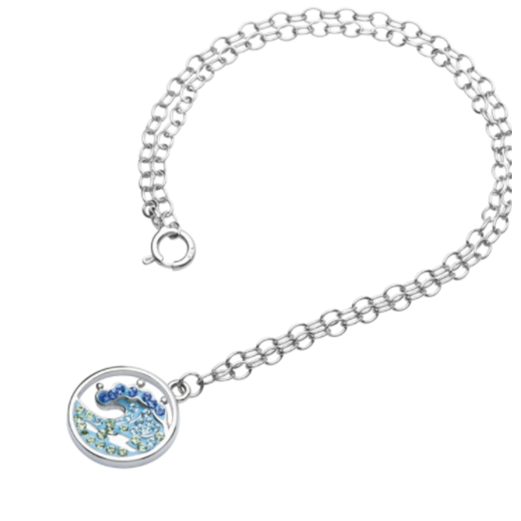 ShanOre ShanOre Sterling Silver Wave with Blue/White Crystals Ankle Bracelet