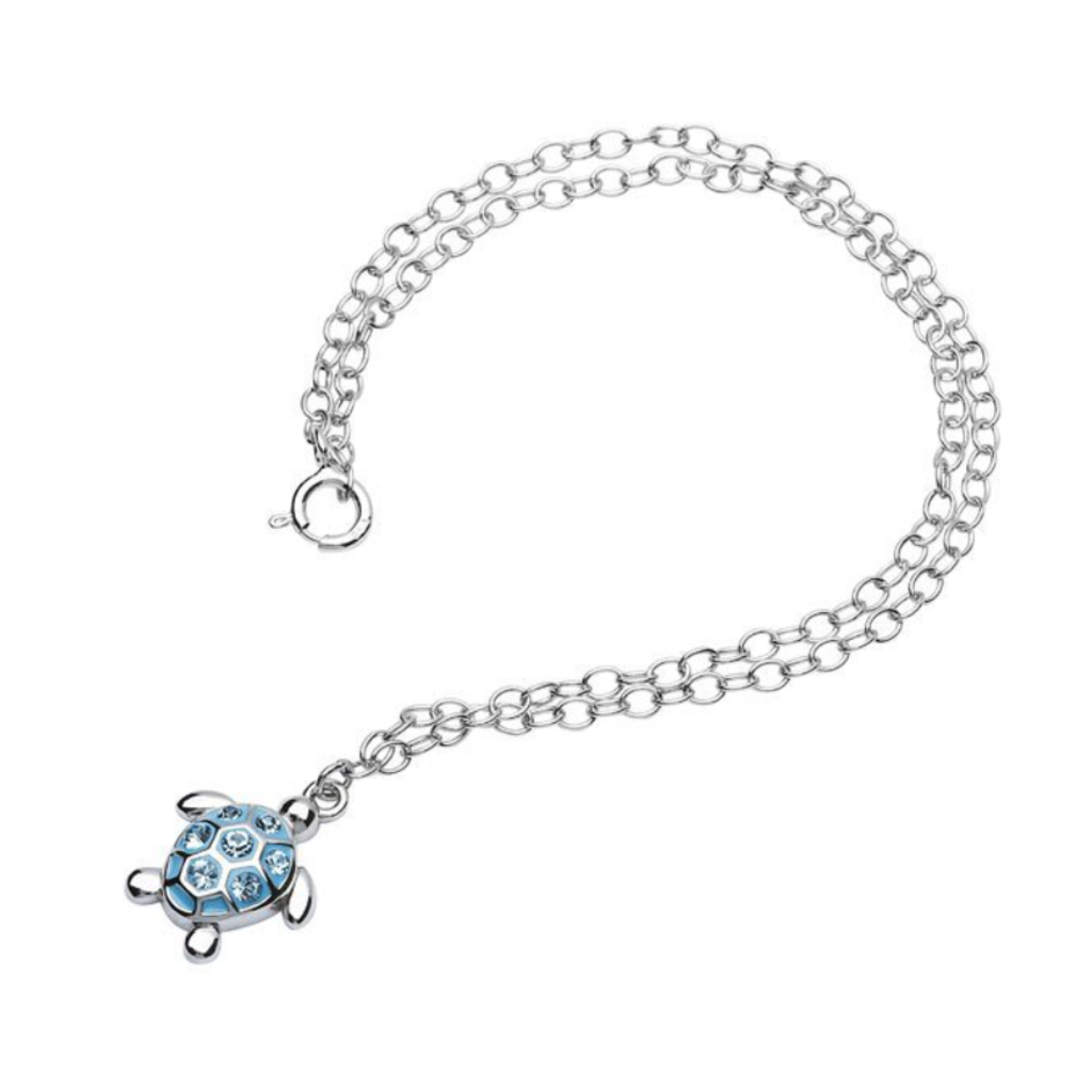 ShanOre ShanOre Sterling Silver Turtle with Aqua Crystals Ankle Bracelet