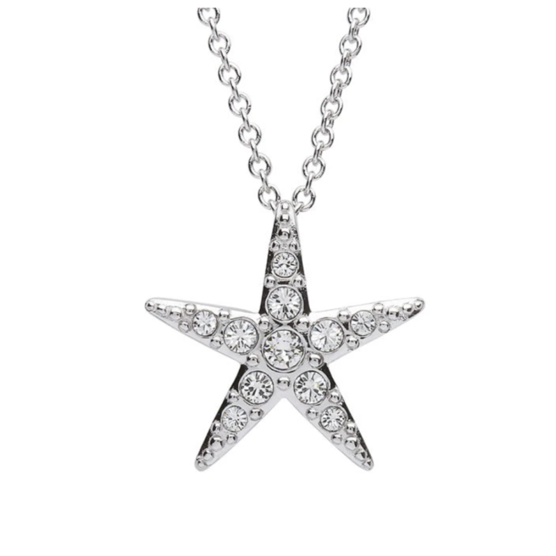 ShanOre ShanOre Sterling Silver Small White SW Crystal Star Fish Necklace